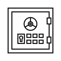 Safebox lijn zwart pictogram