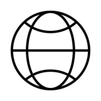 Icono de línea negra mundial