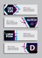Set of 4 modern banners and flyers, glitch style.