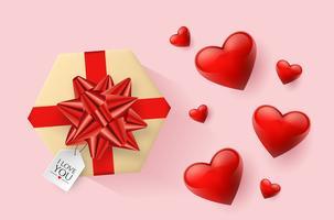 Carta da parati festiva decorata con cuori e regali. Illustrazione vettoriale