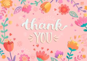 Thank You handwritten lettering with flowers. vector