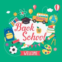 Banner bienvenido de regreso a la escuela.