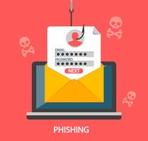 Phishing login and password on fishing hook.Vector