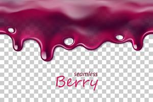 Seamless dripping blueberry repeatable isolated on transparent background vector