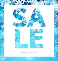 Cartaz de venda, desconto com flocos de neve.