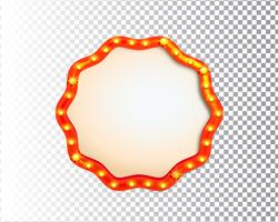 Shining isolated retro bulb light circle frame