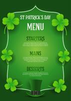 St Patrick's Day menu design with top hat and clover vector