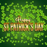St Patrick's Day background with shamrock and metallic gold text vector