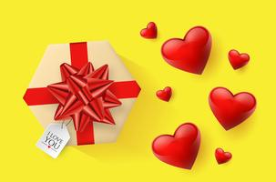Festive wallpaper decorated with hearts and gifts. Vector illustration