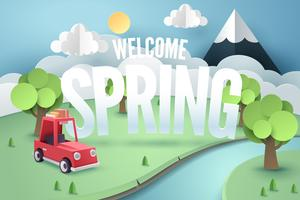 Paper art of red car mountain with welcome Spring, origami and travel concept