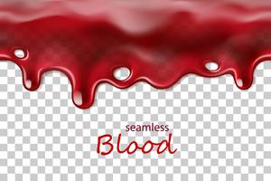 Seamless dripping blood repeatable isolated on transparent background