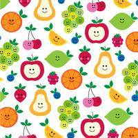 cute fruit with faces pattern on white vector