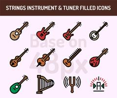 String instrument icon set. Outline filled icons base on 48 pixel with pixel perfect