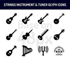 String instrument icon set. Solid icons  base on 48 pixel with pixel perfect vector