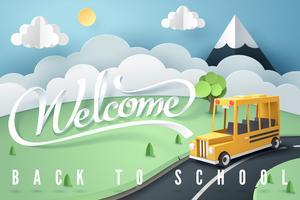 Arte de papel del autobús escolar corriendo en camino rural.