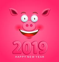 Cute greeting card for 2019 new year with pig face