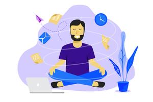 Hombre de meditación en el trabajo. Concepto de diseño de trabajo de negocios. Ilustración vectorial