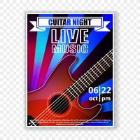 Musical poster with a guitar. Live music vector