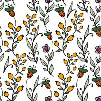 Floral seamless pattern. Herbs and wild flowers print.