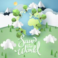 Paper art and origami of Earth with save the world  lettering