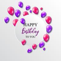 Ilustración vectorial de un cumpleaños con globos