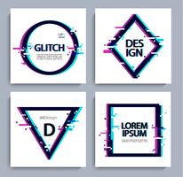 Set of geometric shapes, frame with glitch style.