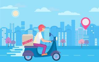 Concepto de entrega de scooter rápido y gratuito. vector