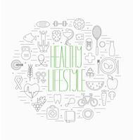Conjunto de símbolos de estilo de vida saludable
