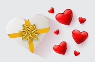 Carta da parati festiva decorata con cuori e regali