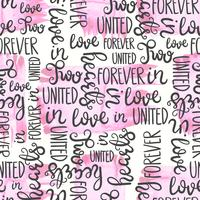 Romantic quote seamless pattern. Love text print for valentine day. Hand lettering typography design