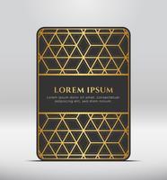 Eleganter Premium-Look. Dunkelgraue Kartenform mit goldenem Muster. Vektor-Illustration