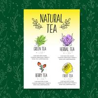 Herbal tea menu brochure. Organic herbs and wild flowers. Hand sketched fruits and berries illustration.