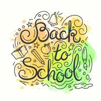 Back to school card. Watercolor background. Vector illustration with lettering.