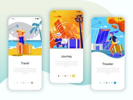 Set di kit di interfaccia utente per schermi onboarding per Travel, Journey