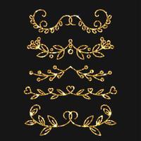 Set di divisori. Disegno vettoriale ornato d'oro. Fiorisce d'oro.