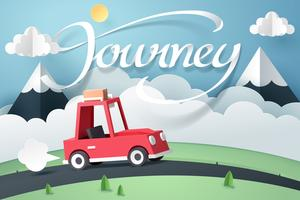 Paper art of red car near mountain and journey calligraphy lettering vector