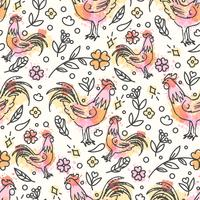 Hand Drawn Rooster Seamless Pattern. Chinese New Year
