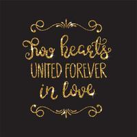 Lettrage romantique avec des paillettes. Étincelles dorées