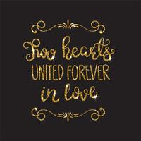 Romantic lettering with glitter. Golden sparkles