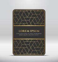 Elegante look premium. Forma de tarjeta gris oscuro con patrón dorado. Ilustracion vectorial vector