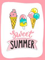Bright summer card with sweet summer ice cream and handdrawn lettering