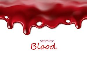 Seamless dripping blood repeatable isolated on white background