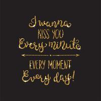 Letras românticas com glitter. Brilhos dourados