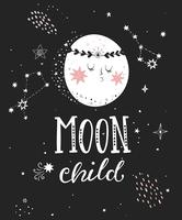 Moon child poster with full moon. vector