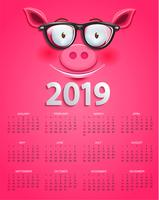 Cute calendar for 2019 year with clever pig's face