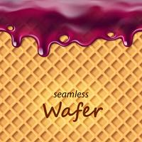 Seamless wafer and dripping blue berry cream or jam repeatable