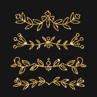 Dividers set. Vector gold ornate design. Golden flourishes.