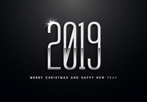 2019 Holiday Vector greeting illustration with silver numbers.