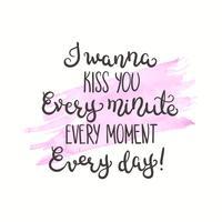 Cita romántica Texto de amor para el día de san valentín. Diseño de tarjetas de felicitación. Ilustración vectorial para la impresión. Fondo acuarela aislado en blanco.