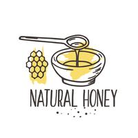 Fondo de miel de vector. Bio conjunto dibujado a mano.